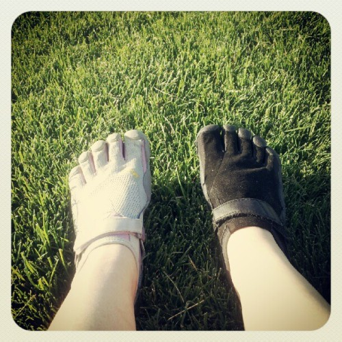 Running with my fivefingers (Taken with Instagram)