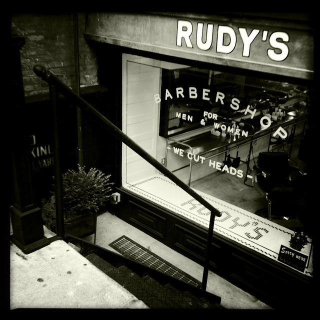 rudy's barbershop. 29th street. on Flickr.Looks like an old-school barber shop that's been on the block forever, but Rudy's Barbershop opened less than a month ago on 29th Street right next to the hip Ace Hotel. This is the first NYC location and also the first East Coast location as well for the beloved West Coast based chain of old-school style barbershops.
