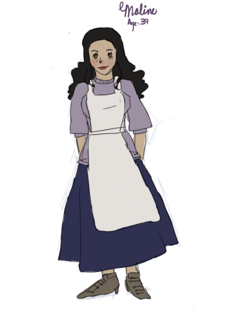 This is Maline. she is a mother figure and neighbor to Cleina and was a good friend of her father. She likes gardening and cooking and stuff. when she meets eu, they're real bros and she pushes him to pursue cleina i guess