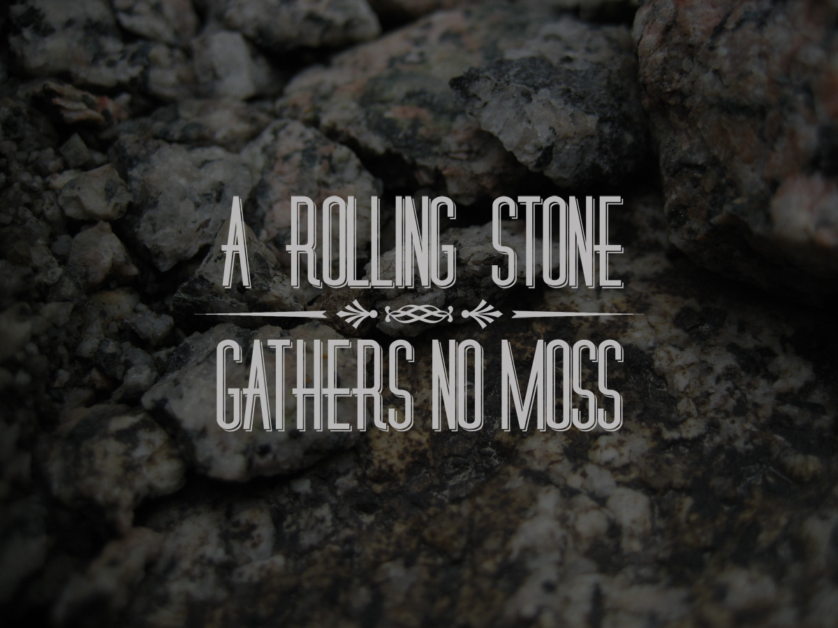A rolling stone gathers no moss. So true!