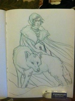 jon snow and ghost. sorry for the low res. i'm not home, but this will be finished before the end of this month. :D i'm going to be entering some of my art at the baltimore otakon this year. so please look for me and bid on my stuff! i need monies! ha. i do commissions also so message me if you want something!