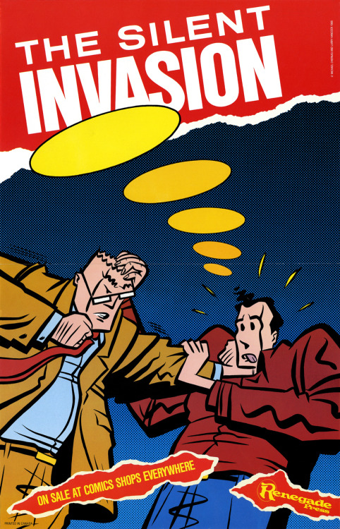 Promotional poster for The Silent Invasion by Larry Hancock and Michael Cherkas, 1986.