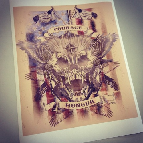 "travjamjar:  Print give away! Why? Why not! This print is 40 x 50 cms. Hand signed by myself and entitled ""amerreka, Fuk yehh!"".(and yes, I realise Americas spell Honour as Honor. I'm Australian and we spell it correctly here. lol)  To win simply just follow and like if on instagram, follow and like/reblog on tumblr (travjamjar.tumblr.com - and keep the text please), follow me on twitter and favourite this pic (not that I really use twitter, @travjamjar), or like my facebook page and this picture (Facebook.com/travjamjar.art). I'll choose a winner at random soon. God Less You,TravJamJar  (Taken with Instagram)  Update: I now have 2 smaller prints of this to give away to some runner ups."