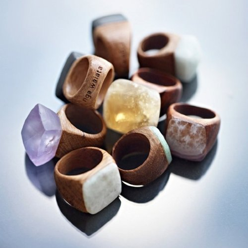 Jeweled Wood Rings by Nga Waiata(via Fancy)