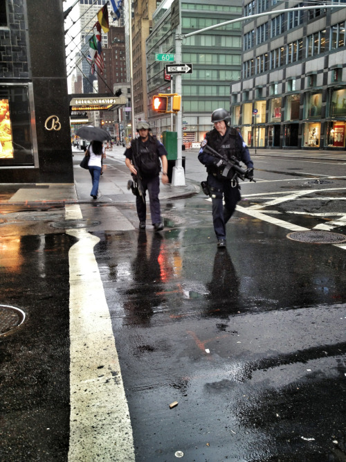 Nothing says freedom quite like NYPD SWAT Team members patrolling the streets of Manhattan at 7 A.M. These gentlemen were on their way to meet up with 3 equally armed team members and a German Shepherd in the subway station below. I don't care how many times I see this sort of thing or am told it is in the best interest of the public, I will never view this as normal or acceptable. Why celebrate independence from one unjust ruler, to live under the rule of other, unjust rulers?