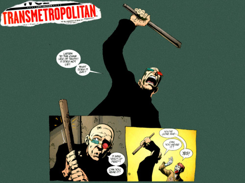 """Listen to the chair leg of truth! It does not lie!"" Transmetropolitan. Artist Darick Robertson.  Thanks to DeviantArtist coleblak for the wallpaper."