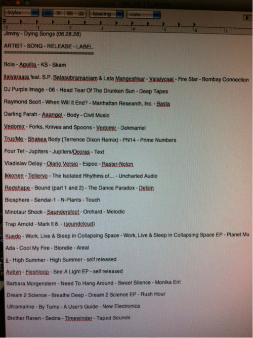 Dying Songs setlist 6-28-12. Archived show links in the RADIO section———->