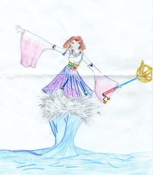 sociallyunacceptableart:  I drew this when I was nine and I was so proud of it. Oh God why  Because you were nine :T The colours are nice.