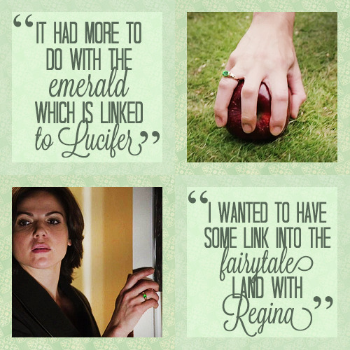"♕ Regina Mills/Evil Queen Challenge    ↳1/2 Objects: Green Ring; ""…the choice in the ring came from my own research. It had more to do with the emerald, which is linked to Lucifer. It was just kind of my way of tapping into the dark side for this character, and I wanted to have some link into the fairytale land with Regina, just as a choice."" (x)"