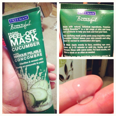 drugstoreprincess:  Freeman's Facial Peel-Off Cucumber Mask… Review?  i have this stuff. while it's kind of a nice/fun thing to do once in a while, it doesn't do a hell of a lot for my complexion, and it dries out the skin around my nose really badly. but peeling it off feels weird and cool, and your skin feels kinda nice for a couple hours afterwards.