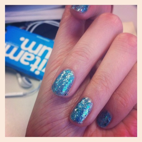 Glittery nails and way wrinkly hands (Taken with Instagram)