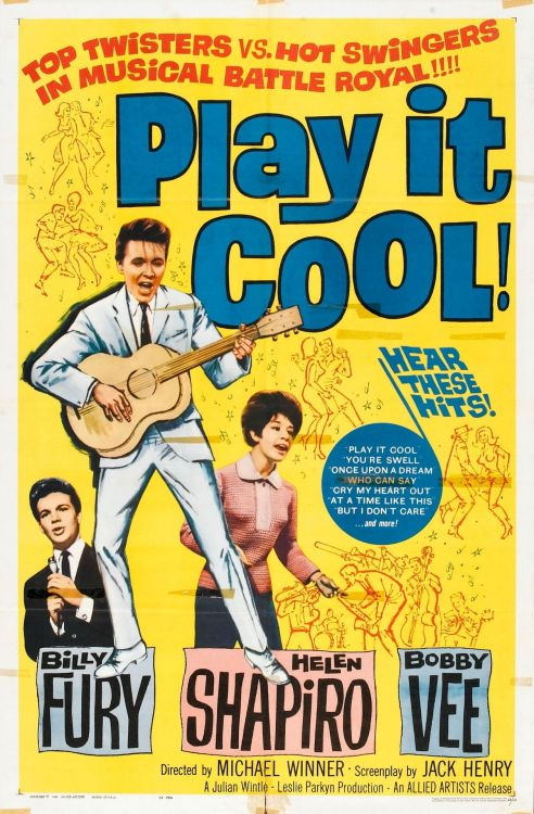 Poster for the 1961 English rock film 'Play It Cool'.