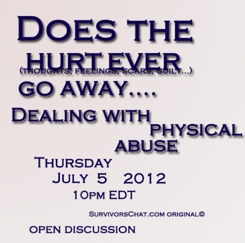 survivorschat:  What: Dealing with physical abuse: before, during, after. Where: http://www.survivorschat.com/chat/room2.php