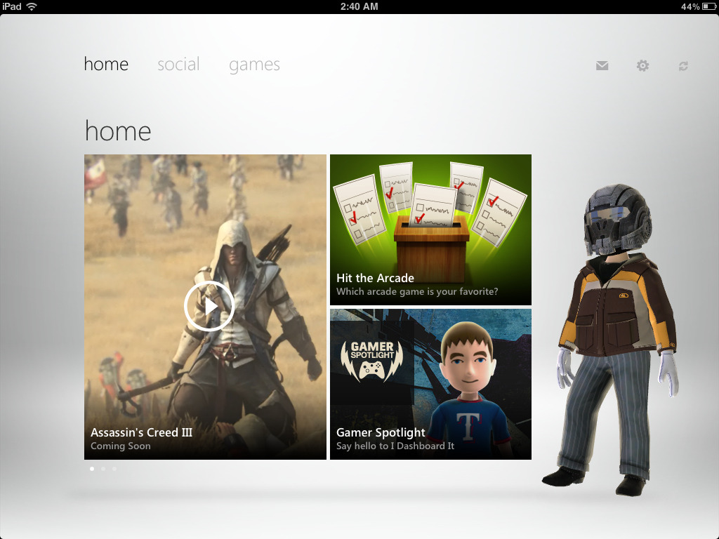 "The ""My Xbox Live"" app on the iPad, is one of the most well designed and smoothest running apps I've ever used. It's beautiful! Using it makes me realize just how amazing Metro is for tablet devices, and makes me all the more excited for a Windows RT tablet. Can't wait ^_^"