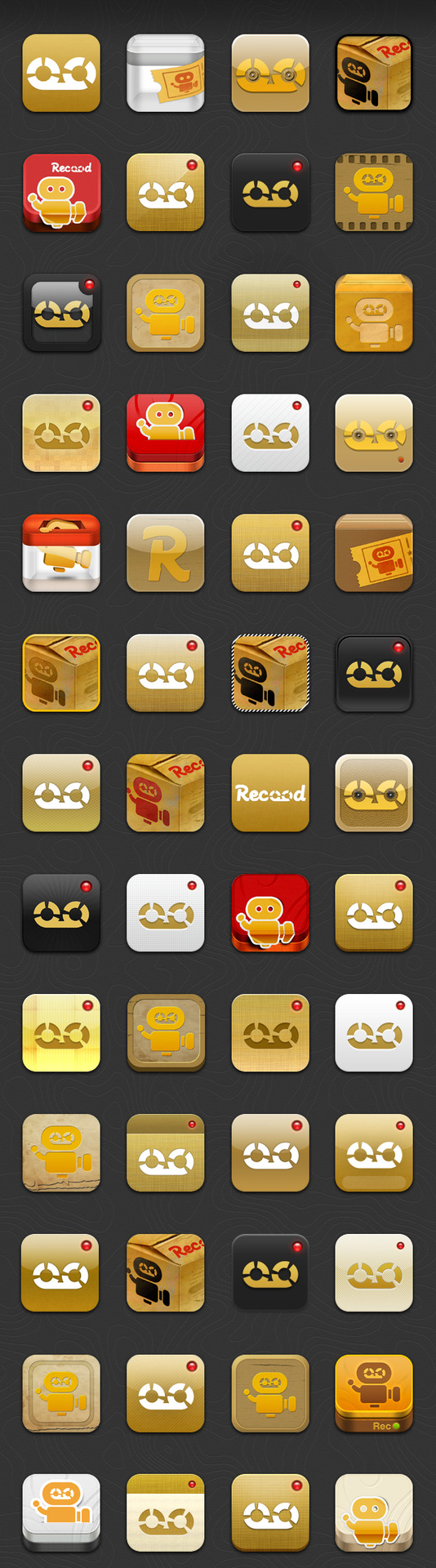 This is the list of design samples for Recood App Icon till now. The icon design did came up with so many workpieces. You can check out the final one when Recood Pro is launching in July:)  ps. @juicy you did a great job! It's so neat!