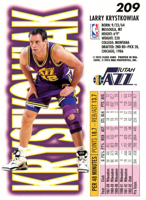 "kicksoncards:  Larry Krystkowiak - Converse Aero Jet (Look closely and you'll see that he turned Larry Johnson's #2 on the shoes into ""42"" with the help of a permanent marker.)"