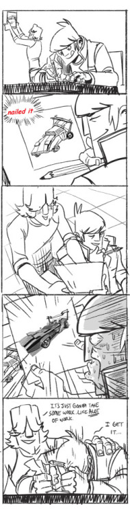 misterunagi:  Mike can do everything. Except drawing..  This little strip is inspired from geneticttechno 's hilarious post about nailing Mutt. Geneticttechno.. forgive me for using your drawing, but I just couldn't resist..! I hope you enjoy the little comic though. ^_^;;;  AND EVERYONE WATCH THE LARPING EPISODE TOMORROW!!   NAILED IT