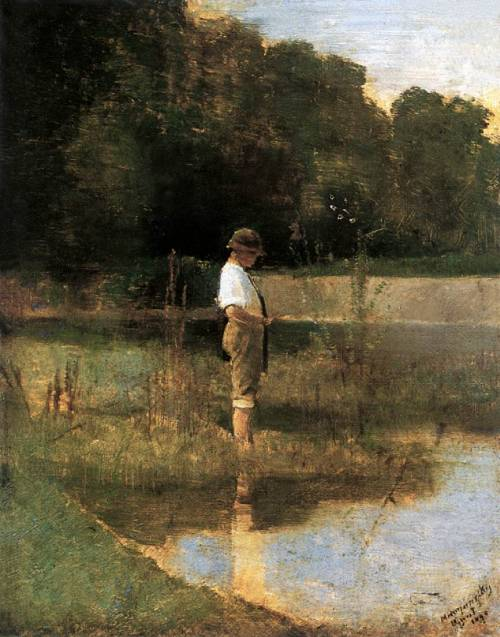 blastedheath:  László Mednyánszky (Hungarian, 1852-1919), Angler, 1890. Oil on wood. Hungarian National Gallery, Budapest.