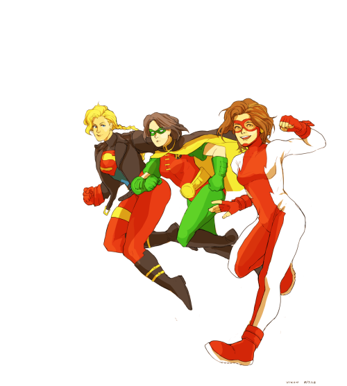 unlicensedsuperhero:  -lazarus:  vikun:  Genderbent Kon, Tim and Bart!  Ahh Vi, this looks so great! Even more so now that it's been colored! And I love how Kon's blonde instead of his usual dark hair. I think that's such a refreshing change :') I love the colors and how vibrant this is. It's making me miss my babies akdjalkdd Ugh this is so wonderful and gorgeous! *A*    Why would Kon be blond though? Kal is black haired and Lex is/was a red head.