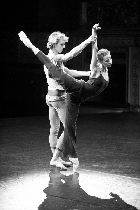 thedailyballet:  Kristina Kretova and Semyon Chudin in rehearsal for Giselle. Photo (c) Nikolay Krusser.