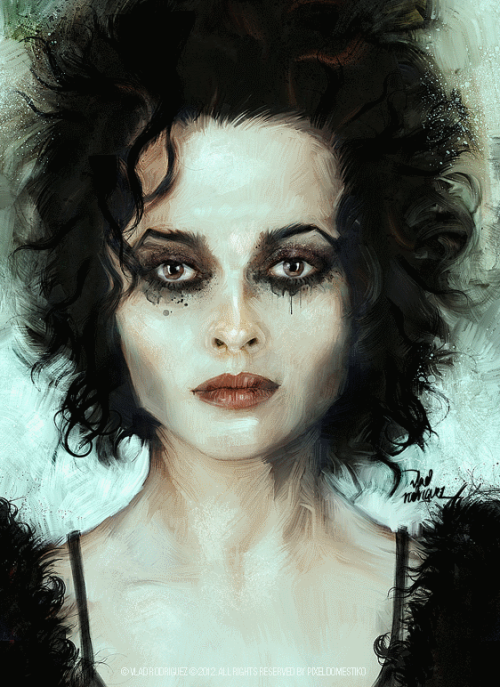 "ianbrooks:  Marla by Vlad Rodriguez My man Vlad brings Helena Bonham Carter's ""Marla"" from Fight Club to miserable life with these prints available at bigcartel. The little scratch on the roof of your mouth that would heal if only you could stop tonguing it… but you can't.  Artist: facebook / tumblr / behance"