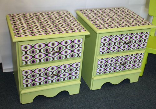 How to make these stunning fabric decoupaged draws from old furniture. I'm going mental for home ware at the mo seeing as I moved house 2 days ago.