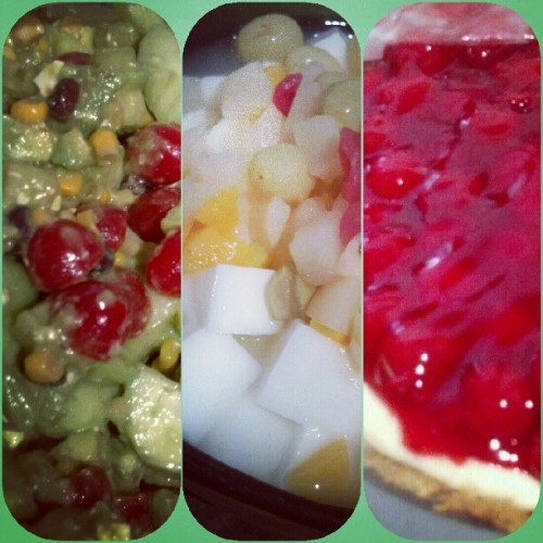 How I roLL to a #coOkouT - chopped #salad / #almondtofu / cherry #cheesecake. #cooking #foodporn #dessert #fuckyeah #1girl3plates  (Taken with Instagram)