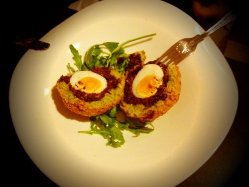 Scotch egg with wild boar black pudding. Bantry, County Cork.