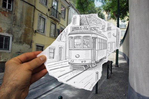 "Creative Inspiration Ben Heine drew the sketch of the legendary ""Tram 28"" in Lisbon, Portugal and took this photo. The image is part of the series 'Pencil Vs Camera'. via: WE AND THE COLORFacebook // Twitter // Google+ // Pinterest"