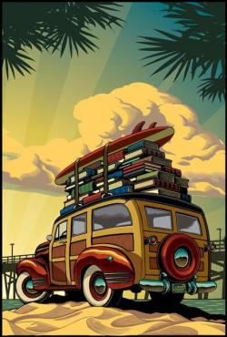 reading-as-breathing:  Vacation: Surfing with the books /Vacaciones: surfeando entre libros (ilustración de Chris Gall)