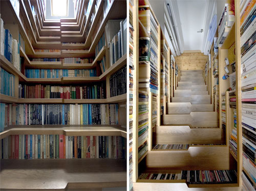 I love these bookshelf staircases!