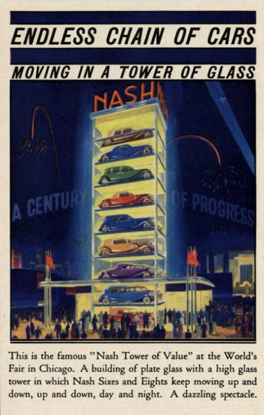 laughingsquid:  Endless Chain of Cars Moving in a Tower of Glass, 1933