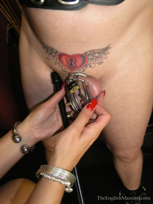Tattooed chastity husband, cruel red nails…