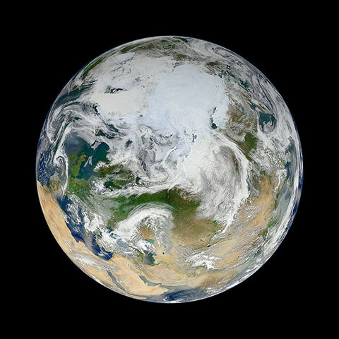 guardian:  Photograph: VIIRS/Suomi-NPP/NASA A gallery of satellite images of the earth in June 2012:  There have been many images of the full disc of Earth from space – a view often referred to as 'the Blue Marble' – but few have looked quite like this. Using natural-colour images from the visible/infrared imaging radiometre suite (VIIRS) on the recently launched Suomi-NPP satellite, a Nasa scientist has compiled a new view showing the Arctic and high latitudes
