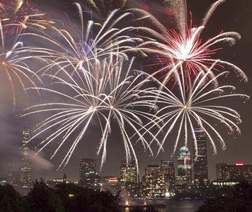 boston:  After lightning, rain pass, it was fireworks as usual  Storms prompted an evacuation on the Esplanade and a delay in Boston's Fourth of July celebration, but the fireworks eventually went off. (YOON S. BYUN/GLOBE STAFF)   I got kicked off the mass ave bridge and told they were cancelled. Got on the orange line and saw they were still on,needless to say,I was annoyed