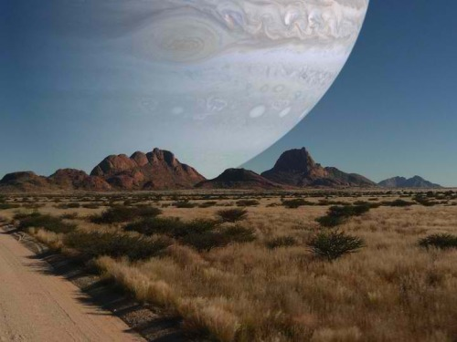 expose-the-light:  If Jupiter Was the Same Distance as the Moon? Redditor jb2386 created this mind-blowing image which shows what Jupiter would look like if it was the same distance away from the Earth as the moon. He figured it out by taking a source picture that had the moon in it, used the correct scale of the Moon to Jupiter and then placed the readjusted size of Jupiter in the image. Because of the planet's enormous size, we are only seeing about a quarter of Jupiter in the frame! Unfortunately, as cool as it looks, it appears we'd be goners if this actually happened in real life. Check out this relevant video and this explanation.