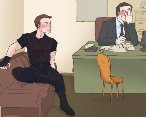 johanirae:  Agent Barton, you are aware that you actually have an office of your own, don't you?Golly. Isn't that nice.Its two floors down, next to the Range. Contains all your archery equipment, uniforms, and paperwork. Everything you need—Not everything I need, Sir. That I could only find right here.