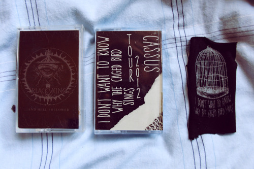 thegoatandthehoe:  Black Veins and I Don't Know Why The Caged Bird Sings tapes from Moshtache Records. Great label and dude, support https://www.facebook.com/MoshtacheRecords  <3