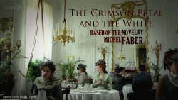 "isserleylovesbooks:  The Crimson Petal and the White: BBC miniseries review. I've previously posted a review of Michel Faber's excellent novel. Today, I thought I'd write about the 2010 BBC miniseries based on it.  Plot refresher: Sugar is a 19-year-old prostitute in 1875 London, determined to drag herself out of the gutter at all costs. The Crimson Petal and the White follows her journey. A modern look at the classic Victorian novel tropes.  Starring: Romola Garai stars as our protagonist, Sugar. I had previously seen her as Emma in the BBC miniseries of the same title, and as Amelia Sedley in 2004's Vanity Fair. In a bit of an ""aha!"" moment, I finally recognised Chris O'Dowd, who took on the role of William Rackham - quite different from his most famous character Roy (The IT Crowd). Sherlock and Doctor Who fans will be happy to see Mark Gatiss in the role of William's older brother Henry, playing alongside Shirley Henderson as Mrs. Fox. Devoted Whovians will remember her as Ursula Blake, from that episode in season 2. Yes, the one with the horrible innuendo. For Potterheads: you may strain to recognise Moaning Myrtle, but it is she. Amanda Hale I didn't recognise, but she does very well as the more-than-nervous Mrs. Agnes Rackham, and on perusing her IMDB-page I find I have seen here before, as Mary in Persuasion - but the drastically different haircolour does make all the difference. In a minor role as William's college friend Bodley was Blake Ritson, whom I recognised from his own role in BBC's Emma and whom I half expected to start wooing Sugar. Casting comments? I must say that nearly every main character was cast very differently from what I might have imagined. Romola, while a very good actress, was not as tall and gangly as Sugar is explicitly described to be, though I am glad they didn't think to get rid of her dry lips. Chris O'Dowd, on the other hand, is quite suitable as William (slightly slack-jawed, bit of a ""not sure I understand"" look in his eyes), but distracted me terribly for at least the first episode. (""Roy, why are you in Victorian London? Does Moss know about this, Roy?"")I am a huge fan of Gatiss' acting, but I had imagined Henry's looks (if not demeanor) quite differently. Fantastic though he is, he is hardly the classically handsome, muscular, tall fellow.  Agnes, too, is described as very doll-like and petite.  That said, in demeanour, every single actor interpreted his or her character exactly as one could wish from the descriptions. Having read the book several times, it just took me a while to let go of my preconceptions regarding their appearance. As an adaptation Given that a feature-lenght film starring Kirsten Dunst was announced before ""They"" made the switch to a miniseries, I'm quite happy with the result. The Crimson Petal and the White covers too wide a scope to be accurately captured in less than 3 hours. I am very happy they decided to do it in four.  Aside from a few typical little changes, the series adhered very well to the events and feel of the book. Personally, I believe audiences are quite intelligent enough to realize that Sugar might not be very happy as a prostitute in Victorian London, without the added information that her friend Elizabeth was killed by customers. In the book, she dies of an illness, which demonstrates quite well why the profession isn't altogether glamorous and desirable. In addition, instead of William's allowance slowly dwindling, the first episode shows his father withdrawing it altogether - a turn of events that is not only unlikely but also much too likely to push him into action without Sugar's interference.  A more substantial difference lies in the final episode's scene between Sugar and Cheesman, the driver. No spoilers, but I will say that I think the book handles this in a much more natural and realistic way, and one that marks the ending of a chapter in Sugar's life all the more notably. A very nice addition is the way Sugar's novel is handled: actually shown as if it were happening, so that momentary confusion can arise. This is one area where the series can actually improve on the book.  Interestingly, while I always feel rather sorry for Agnes, the miniseries leaves me feeling so much more strongly than the book. I imagine that is due to the excellent performance of Amanda Hale, who makes much of Agnes' nervous fluttering and is so very wonderfully expressive. While Sugar, in book and adaptation, can fend very well for herself thank you very much, Agnes seems even more vulnerable when seen rather than imagined. In conclusion The BBC miniseries is an excellent adaptation which I can heartily recommend to anyone. Once you get over the initial disorientation with regards to the character's looks, at least. As an adaptation, it adheres nicely to the spirit of the novel, although a few regrettable ""our audience wouldn't understand"" type changes are made. Overlook that and you will certainly enjoy the experience. Given the regular occurence of sex scenes, you might want to be careful to avoid embarrasment. For example, I wouldn't watch this with relatives."