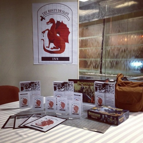 Setting up Dungeon Days Dexcon edition, table tents & flyer displays to promote the event around the Con (Taken with Instagram at DEXCON 15)
