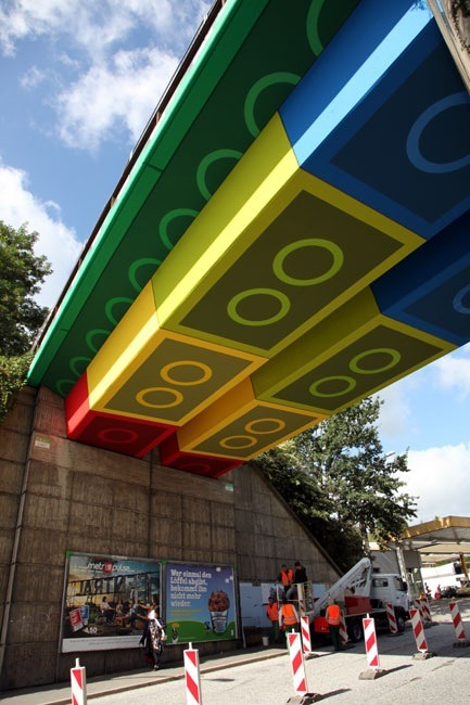 Lego bridge in Germany by street artist Martin Heuwold