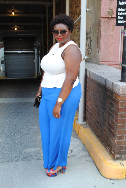 lipstickhipsandheels:  ootd: red white & blue. top: h&m pants: h&m+ shoes: jeffrey campbell bag: chanel sunglasses: h&m