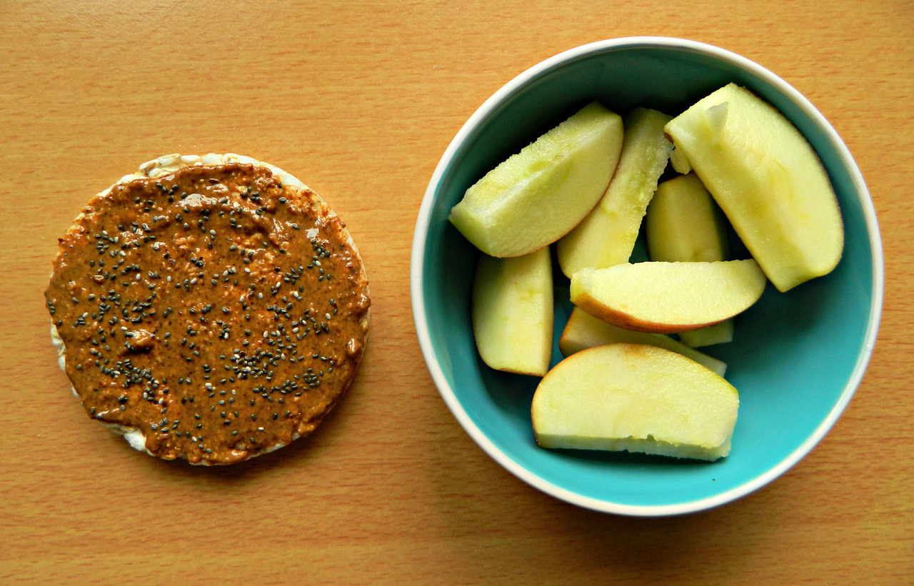 Breakfast today… a brown rice cake with almond butter and chia seeds and a sliced apple. I really wasn't very hungry this morning, and for some reason I haven't felt hungry for about a week or so now. I'm sure that will soon change! (Despite not having hunger pangs, and aside from this morning, I have been eating normally, dw.)