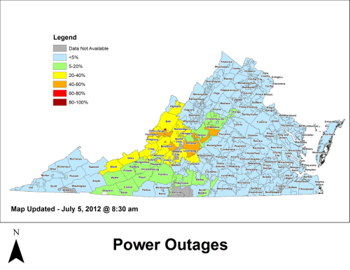 Updated power outage map as of 8:30 am July 5