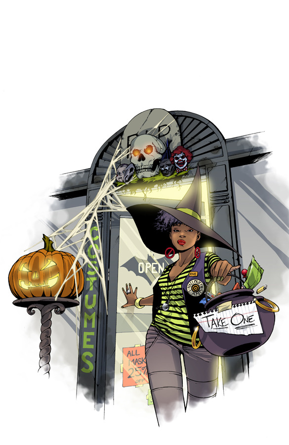 Amy Reeder's first full color drawing of Eve.  The Halloween Eve comic is due out in October 2012.  You can check it out here: http://kck.st/Ncnzvo, and pre-order copies and other cool stuff.  Please share and help spread the word!
