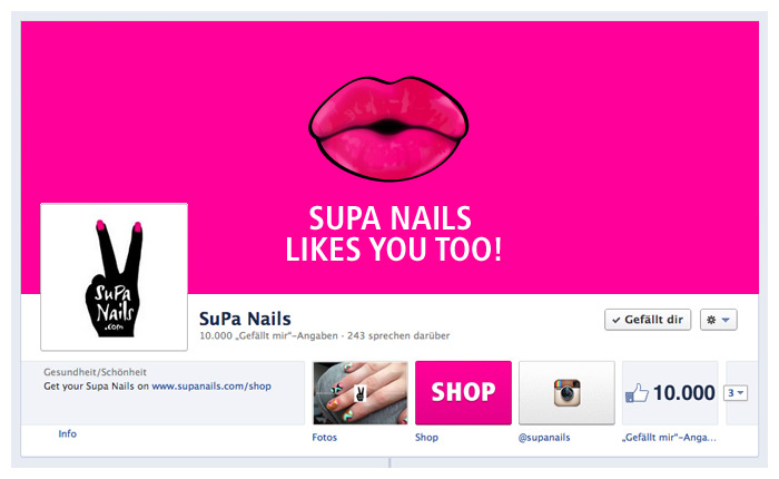 10.000 KissesSupa Nails likes you too! http://www.facebook.com/supanails