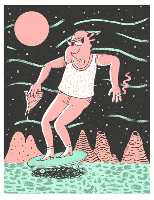 pizzashares:  Moon skating, with pizza. Illustration by Derek Ercolano