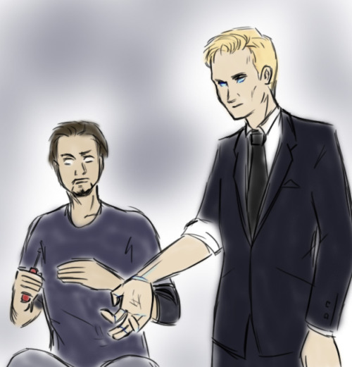 asparklethatisblue: Tony and android!Jarvis for an Anon :) I love androids and I was thinking of drawing humanoid!Jarvis anyway ^^