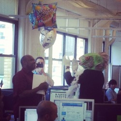 Just a typical birthday celebration at the office accompanied by a dancing fish singing some Jackson 5.