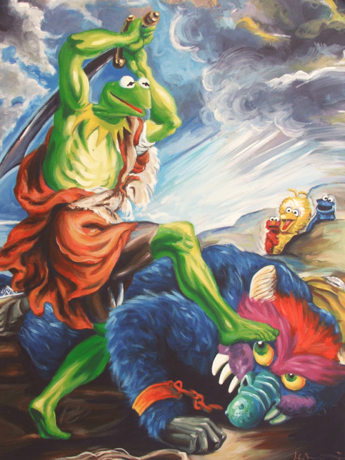 Kermit Slaying His Pet Monster Print For Sale @ Society6